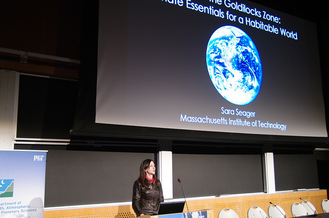 Sara Seager talks exoplanet climates at MIT symposium. (Credit: Helen Hill/EAPS)