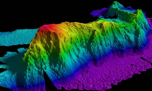 A map of a seamount in the Arctic Ocean created by gathering data with a multibeam echo sounder. Researchers have found that such topographic features can trap deep waters and produce turbulence. (Image: courtesy of National Oceanic and Atmospheric Administration (NOAA))