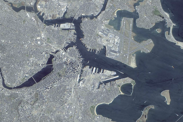 This panchromatic-sharpened, natural-color image of Boston was generated from data collected during an April 23, 2001 scan by the Earth-Observing-1's Advanced Land Imager. (Image: NASA)