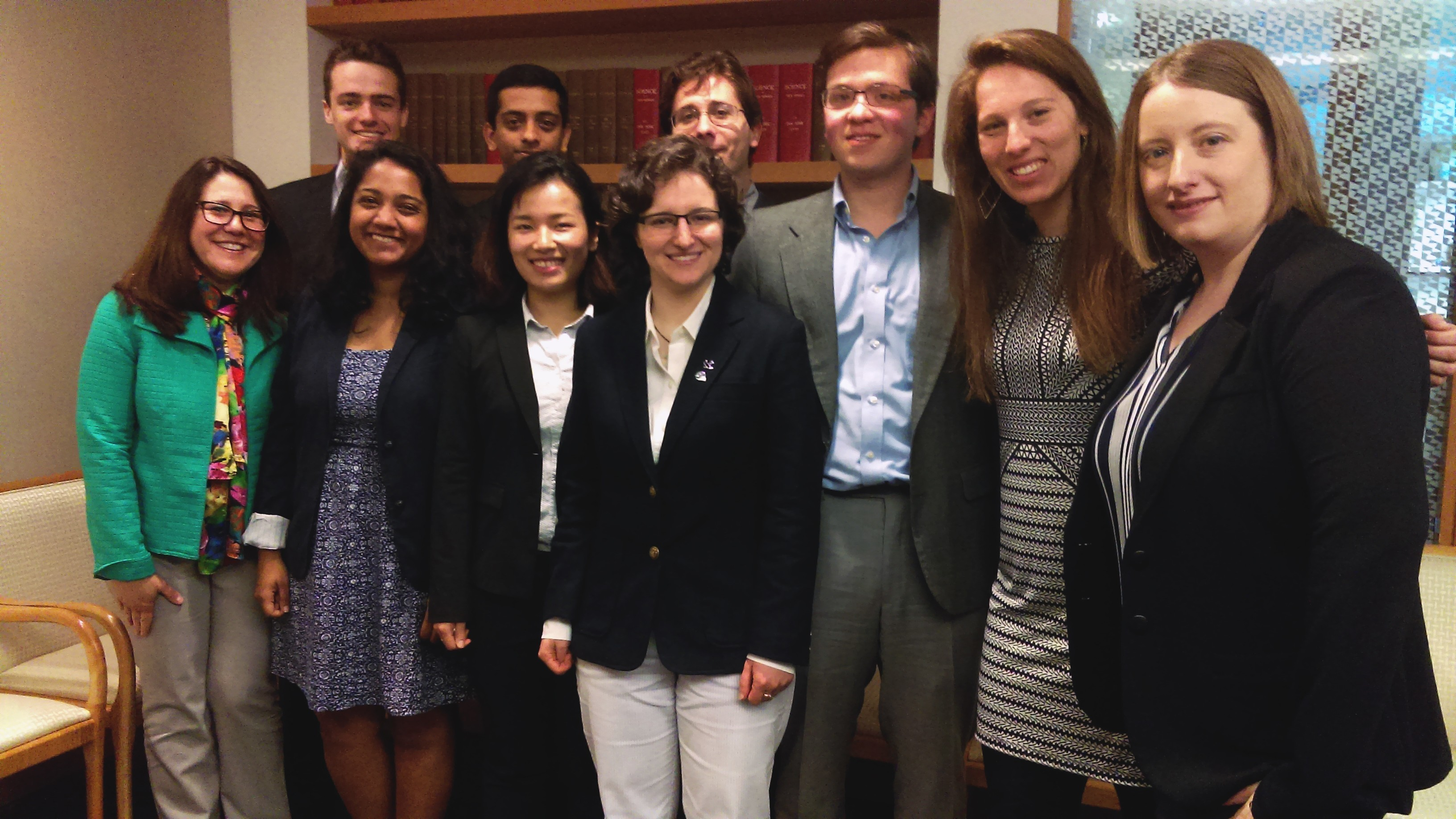 Leshner Leadership Fellow Noelle Selin (right) with her students during a visit to AAAS Headquarters