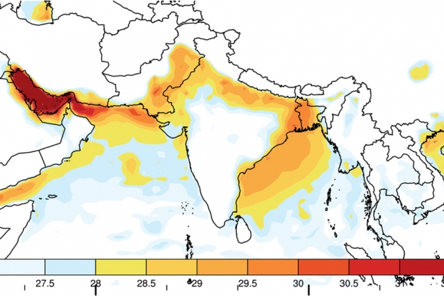 A new study shows that without significant reductions in carbon emissions, deadly heat waves could begin within as little as a few decades to strike regions of India, Pakistan, and Bangladesh. This map shows the maximum wet-bulb temperatures (which combine temperature and humidity) that have been reached in this region since 1979. (Photo: Courtesy of the researchers)