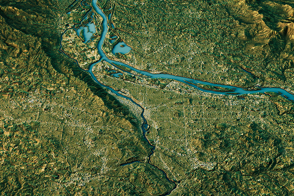 A rendering of a river system in Oregon (Image: stock image)